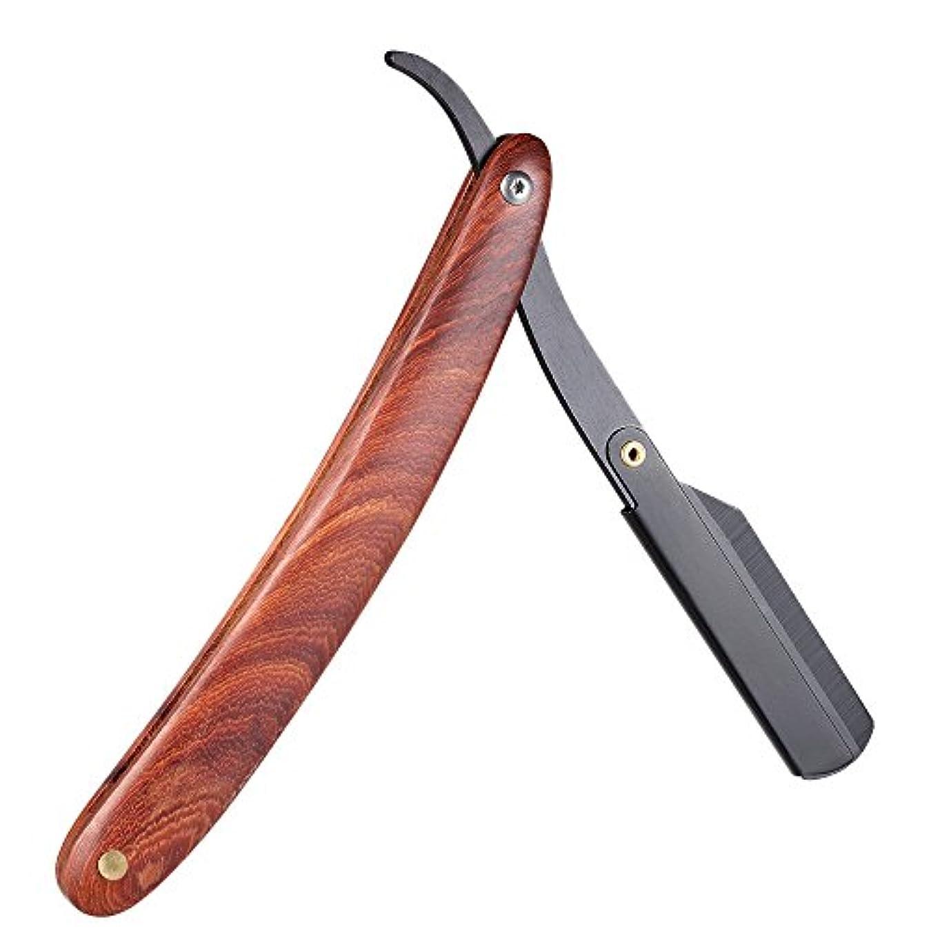 Decdeal 剃刀 ステンレススチール ストレートエッジシェービング剃刀 木製ハンドル 折り畳み式 シェービングナイフ ヘア アイブロー ひげ剃りシェービングツール ブラウン (タイプ2) (タイプ)