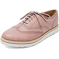 Susanny Women's Wigtips Oxfords Platform Lace Up Brogues Slip on Perforated Spring Shoes
