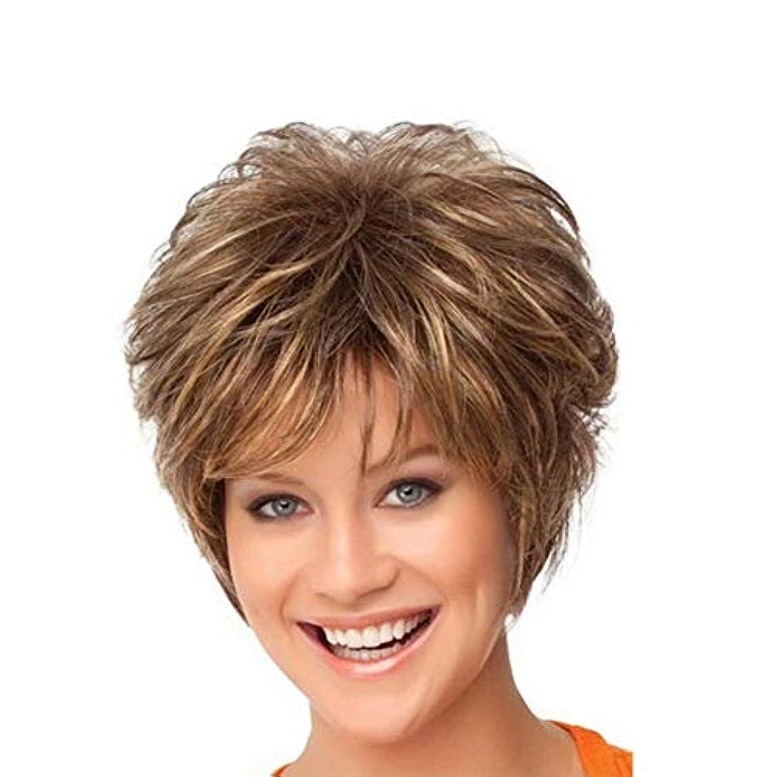 彼自身ブート縫うWASAIO 女性の短い巻き毛のかつらのための女性の髪のかつら (色 : ブラウン)