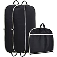 """MISSLO Suit Garment Bag For Travel 42"""" Zippered Clothes Cover (3 Packs, Black)"""