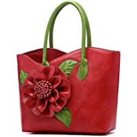 OULII Women's Tote Handbag Chinese Vintage Shoulder Bag Flower Design Mother's Day Gift or Gift for Women (Red)