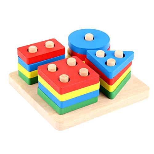 Blackfell ポータブルサイズの木製パズル教育用具幾何学的形状認知マッチングパズル色選別ボード...