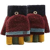 QIANMEIJIA Children Fingerless Gloves Unisex Strong Soft Winter Convertible Pitch Top Fingerless Glove Mittens Winter Gloves (Color : Wine)