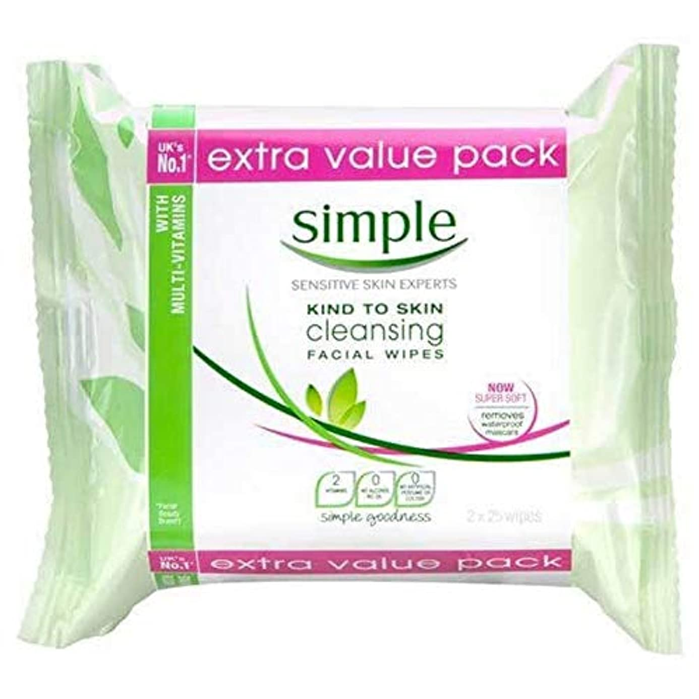 グラムスキーム所持[Simple ] シンプルなクレンジングは、ツインパックワイプ - Simple Cleansing Wipes Twin Pack [並行輸入品]