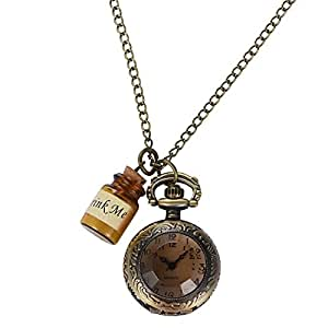 RUNACC 日本製クオーツ 不思議の国のアリス 復古懐中時計 ポケットウォッチ アンティーク ペンダント ナースウォッチ ウィッシュボトル付き (ウィッシュボトル)