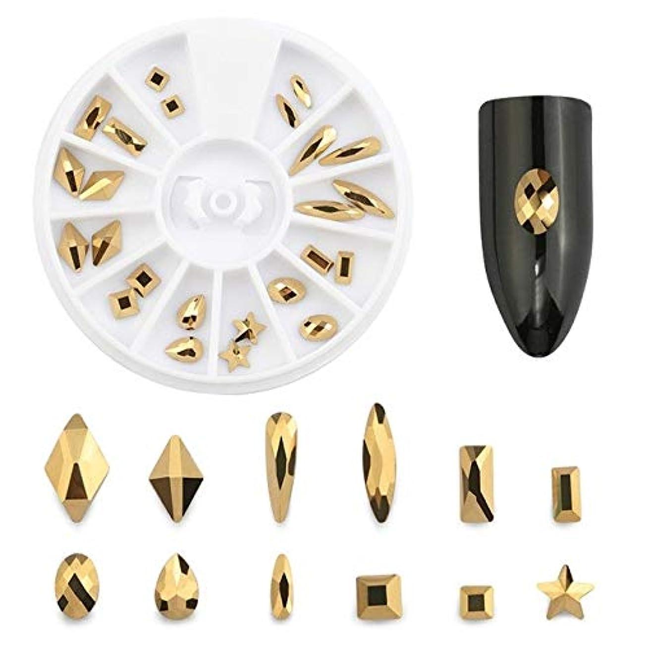 Yan スーパーフラッシュネイルジュエリーフラットドリル型ダイヤモンドゴールドフルドリルネイルアートデコレーションクリスタルセット (色 : 12 Grid box)