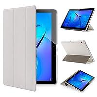 HeFFuny Huawei MediaPad T3 10ケース - Huawei MediaPad T3 10用超薄型軽量シェルホルダースタンドレザーケーススリープ/ウェイクアップ機能付き9.6インチ(ホワイト)