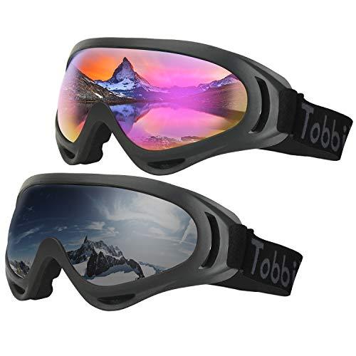 Tobbiheim スキーゴーグル,スノボーゴーグル スノーメガネ UV400カット 球面レンズ 初心者向け 男女兼用 耐衝撃 防塵 防風 防雪 目が疲れにくい 2点セット カラフル/グレー