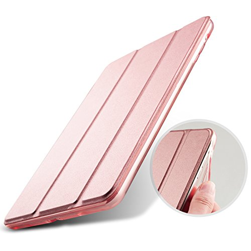 AQUA/アクア iPad mini4(A1538/A1550)専用 ソフトTPUサイドエッジタイプ スマートカバー ケース 三つ折り保護カバー クリアケース 自立スタンド・オートスリープ機能 軽量・極薄タイプ 角割れにくく長持ち (iPad mini4, Rose Gold)