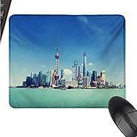 WSF2019 中国 都市景観 ロジテック ゲーム用マウス パッドサイズ 上海スカイライン プードン 川 シーン スカイスクレーパー モダンイメージ W11xL27.5(インチ)