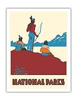 国立公園 - ネイティブアメリカン - ビンテージな世界旅行のポスター によって作成された ドロシー・ワー c.1935 - アートポスター - 51cm x 66cm