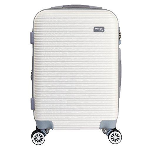【神戸リベラル】 BAGING 軽量 拡張ファスナー付き S,M,Lサイズ スーツケース キャリーバッグ 8輪キャスター TSAロック付き (Sサイズ(1-3泊用 40/50L), ホワイト)