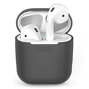 AirPodsケース、AppleワイヤレスイヤホンAirPod用AhaStyleシリコンショックプルーフ保護カバー (グレー)