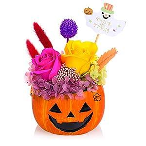 プリザーブドフラワー 鉢花 ハロウィン かぼちゃ パンプキン ジャック・オー・ランタン Jack-o'-Lantern サイズ幅14cm長さ14cm高さ20cm ハロウィンかぼちゃ(2018新版ハロウィーン飾り)
