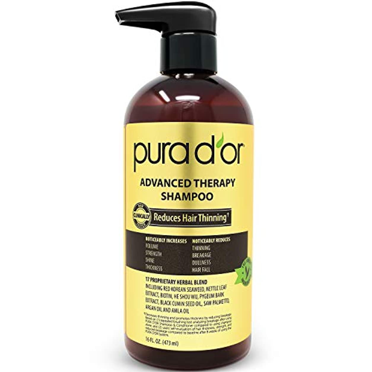 レスリングリスナー令状PURA D'OR 高度セラピーシャンプー 薄毛を改善し、髪にボリュームを、硫酸塩フリー、アルガンオイル&アロエベラ&ビオチン配合、すべてのヘアタイプに、男性&女性、473ml(16液量オンス) 473ml(16 液量オンス)