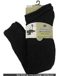 メンズ 綿100% リブハイソックス 靴下セット (3足組) 男性用