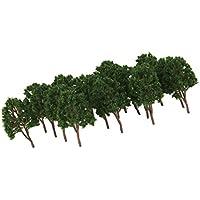 ノーブランド品 40本 1/150 樹木モデル レイアウト 風景 電車模型用 装飾 全2色選べ - ダークグリーン