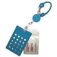 パスケース ICカード 牛革 PP樹脂製 プラスチック ハードケース リール付 定期入れ メンズ レディース 2枚組 ブルー