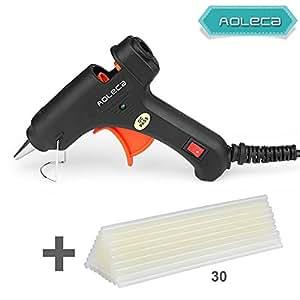 Aoleca プロ小型グルーガン 溶融グルースティック30本付 強力粘着 接着剤 スイッチ付き高温タイプ プラスチック用 ブラック