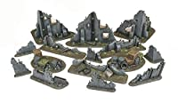 War World Gaming War-Torn City Ruined Buildings, Barricades and Rubble Set - 28mm Wargaming Terrain モデル Diorama