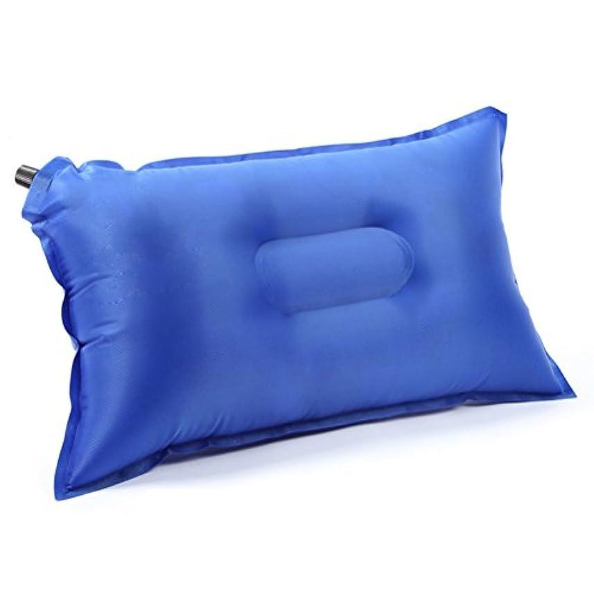 コアモットー怠けたWINOMO 空気注入式枕 フロック加工生地 ポータブル 旅行 アウトドア キャンプ 枕 (ブルー)