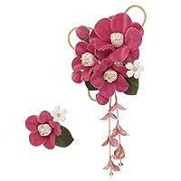 (ソウビエン) 髪飾り 2点セット ピンク 椿 蕾 ブラ メッシュ コーム Uピン