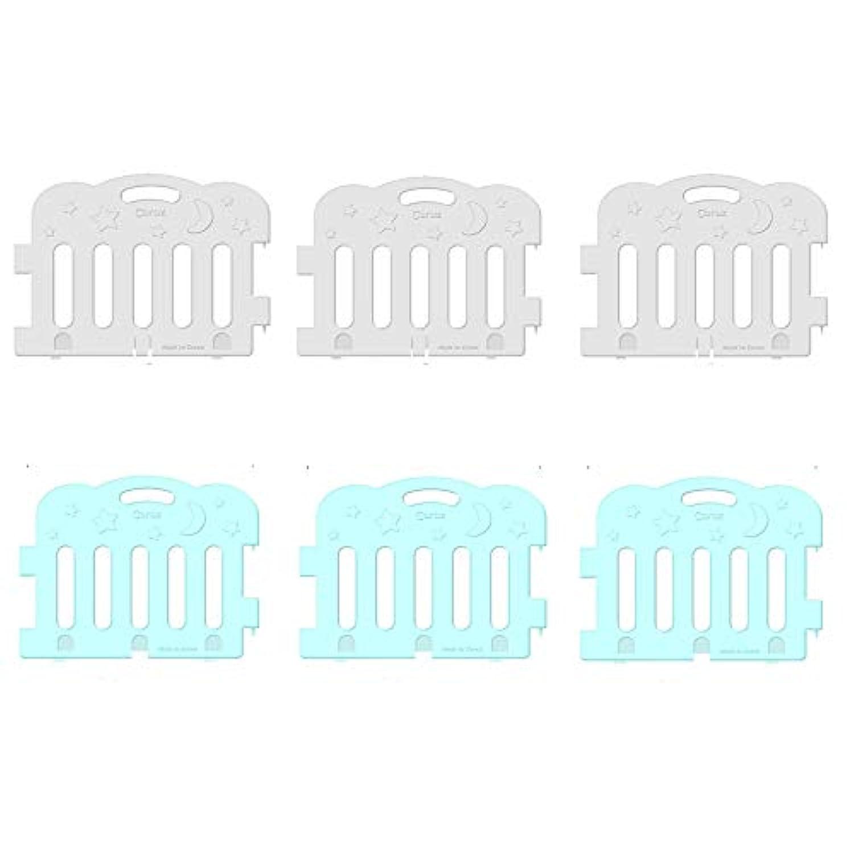 (Caraz) カラズ ジョイント式ベビーサークル 6枚(1カラー3枚+1カラー3枚) フォルダーマット選択〔並行輸入品〕 (マット4段, ホワイト3P+ミント3P)