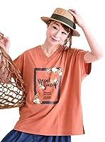 [ゴールドジャパン] 大きいサイズ レディース ビッグ ロゴ プリント Tシャツ 半袖 suri-2095 3L テラコッタ