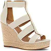 Farktop Womens Peep Open Toe Platform Wedge Sandals Espadrilles Heels with Back Zip