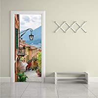 Xbwy ヨーロッパスタイルストリートタウン3D壁画壁紙現代のDiyのドアステッカーリビングルームの寝室の壁のステッカー家の装飾3 D-350X250Cm