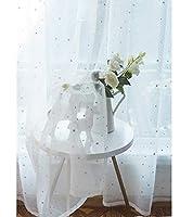 星柄カーテン 韓国スタイル シンプル/遮光カーテン/ホワイト糸/寝室/リビングルーム/バルコニー/子供部屋/1個 350*269cm XUEER