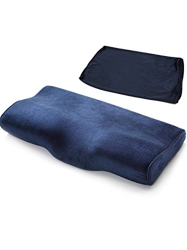 【 枕 高め 頸椎サポート 低反発枕 】Hizak 安眠 枕 洗える カバー 2枚付き まくら 子供 大人 3カラー 34×60cm (ネイビー)