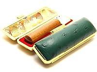 「なつめ印鑑12.0mm×60mmオーストリッチタイプケース(グリーン)付き」 縦彫り 吉相体