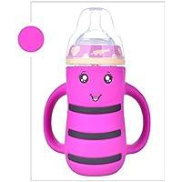 baynne Cartoon Wide MouthガラスミルクボトルKids anti-colicウォーターボトルストロー