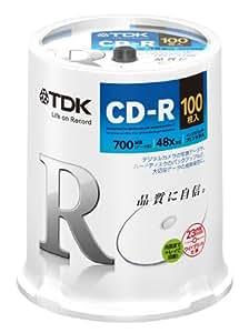 TDK データ用CD-R 700MB 48倍速対応 ホワイトワイドプリンタブル 100枚スピンドル CD-R80PWDX100PE