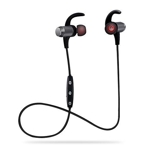 AIKAQI ワイヤレス イヤホン Bluetooth 4.1 CSR スポーツ ヘッドホン IPX4防水 防滴仕様 マグネット内装ヘッドセット DSPノイズキャンセリング搭載 高音質 AACテクノロジー対応 B01 グレー