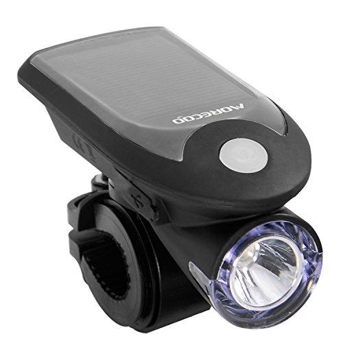 自転車 ライト ソーラー 自転車 LEDライト ヘッドライト USB充電式 ソーラー充電 4モード搭載 ハイモード /ローモード/ストロボモード/SOSモード 高輝度240LM ライトホルダー付き 生活防水仕様 取り付け簡単 台座改良型 (ブラック)