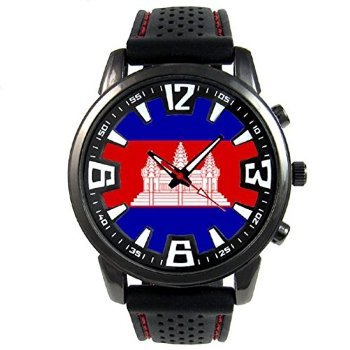 [タイメスト]Cambodia Country Flag Mens Black Jelly Silicone Wrist Watch 腕時計 [並行輸入品]
