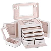 Large Black White Girls Jewellery Gift Box Rings Necklace Watches Storage Organizer Lockable with Bonus Travel Case 225 (White)
