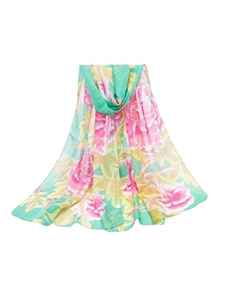 ストレス代数的借りているビエスディディ レディース 全12色 日焼け止め 牡丹花柄 ロング シフォン スカーフ