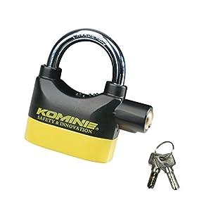 コミネ(Komine) セキュリティロック アラームパッドロック ブラック/イエロー フリー(mm:W93×H98×D32) 09-120 LK-120
