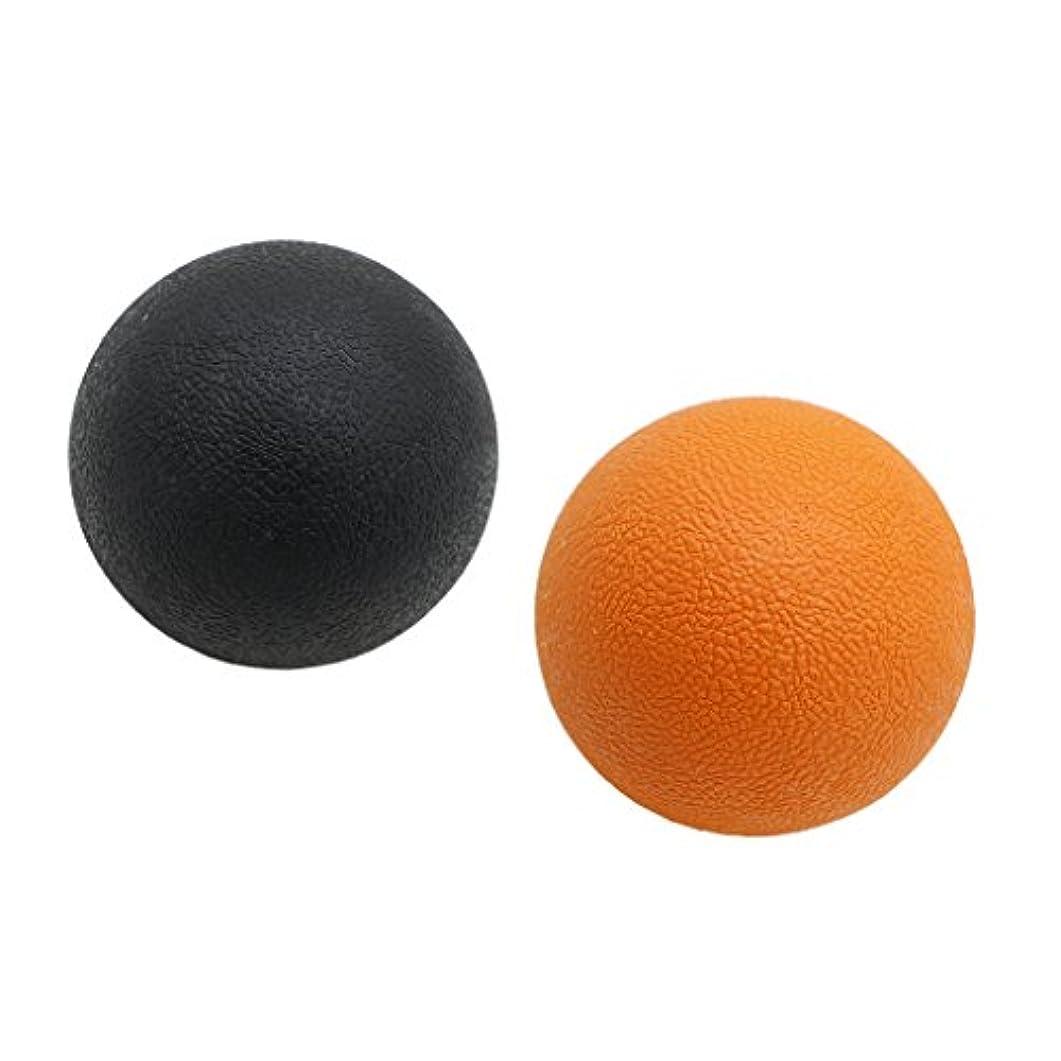 幻想任命歯Fenteer 2個 マッサージボール ストレッチボール トリガーポイント トレーニング 背中 肩 腰 マッサージ 多色選べる - オレンジブラック
