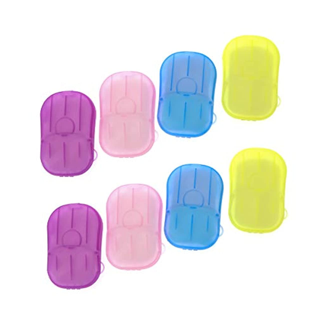 邪魔する代数的ベジタリアンSUPVOX 8ピースポータブルソープペーパー使い捨て手洗いペーパーソープスライスシート用子供大人トイレ旅行屋外
