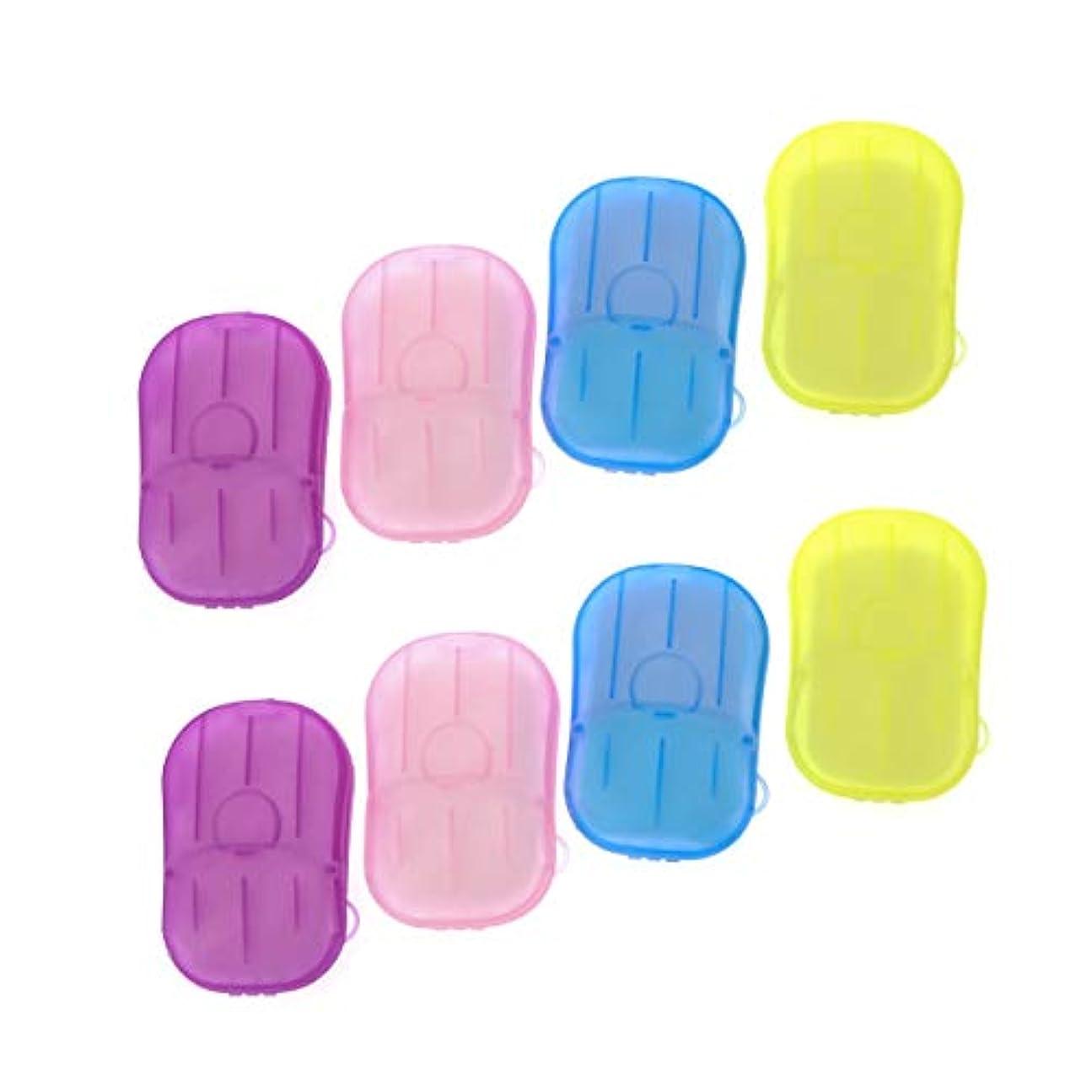 SUPVOX 8ピースポータブルソープペーパー使い捨て手洗いペーパーソープスライスシート用子供大人トイレ旅行屋外