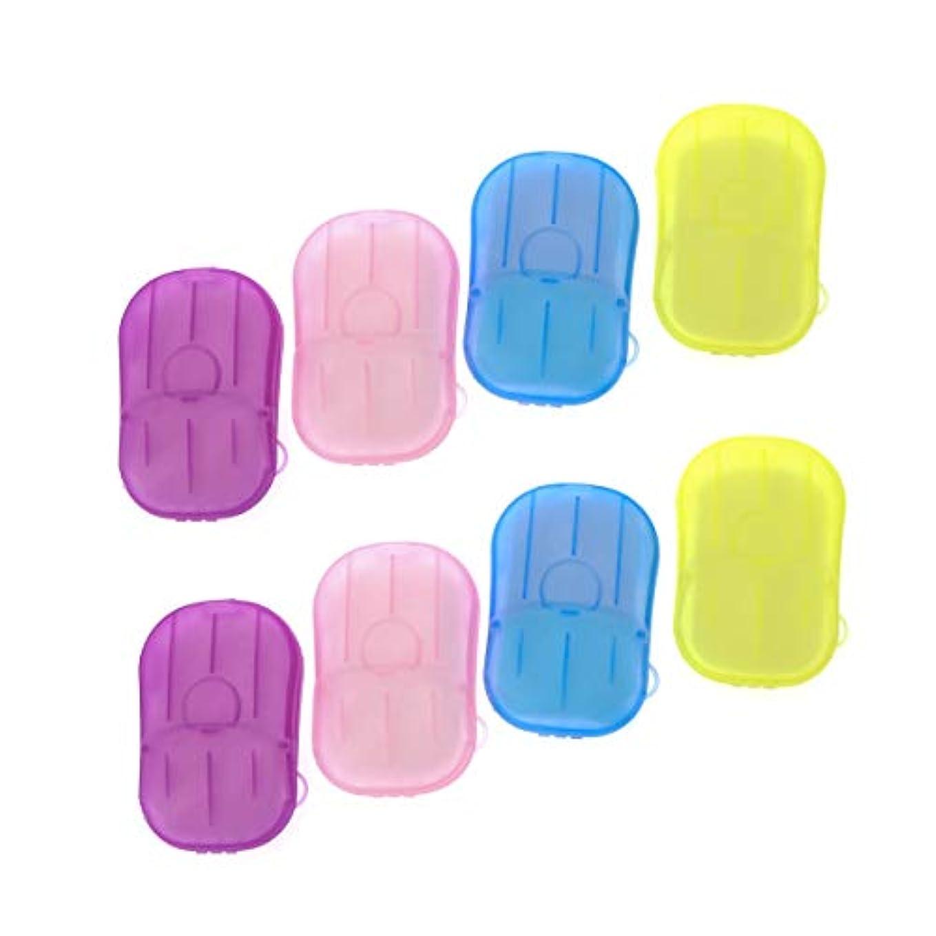 スキム剣有彩色のSUPVOX 8ピースポータブルソープペーパー使い捨て手洗いペーパーソープスライスシート用子供大人トイレ旅行屋外