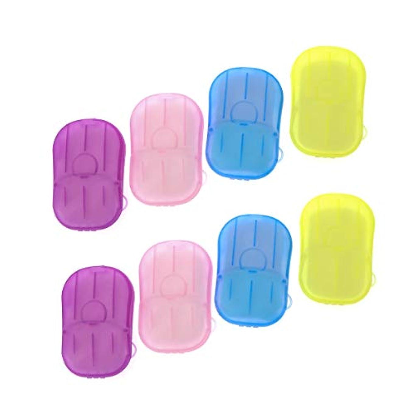 遠え光の蓋SUPVOX 8ピースポータブルソープペーパー使い捨て手洗いペーパーソープスライスシート用子供大人トイレ旅行屋外