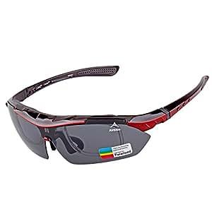 Airbibo (エアビボ) スポーツサングラス 偏光 交換レンズ5枚 専用ケース付属 UV400カット 軽量 耐衡撃性 ユニセックス 紫外線カット 釣り ドライブ ゴルフ ランニング 自転車 バイク 登山 テニス用