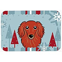Carolines Treasures BB1710LCB Winter Holiday Longhair Red Dachshund Glass Cutting Board, Large