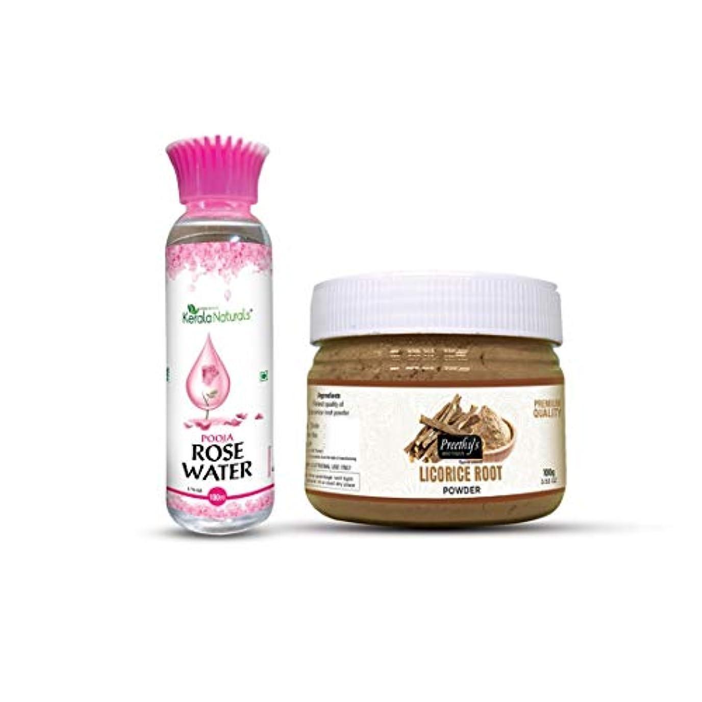 絞る種洪水Combo of Licorice root powder 100gm + Rose water 100ml - Natural Remedies for Skin Disorders, Fade Dark Spots, Natural Cleanser - 甘草の根パウダー100gm +ローズウォーター100mlのコンボ-皮膚疾患、フェードダークスポット、ナチュラルクレンザーの自然療法