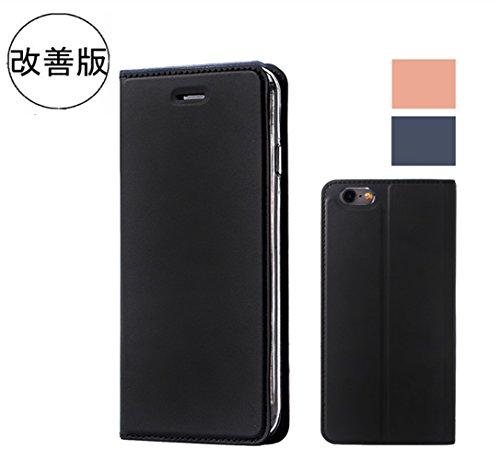 【2017年改善版】 iphone6 plus ケース / iphone6s plus ケース 手帳型 軽量 薄型 アイフォン6sプラス ケース カード収納 マグネット式 スマホケース かわいい おしゃれ (iPhone6 Plus/iPhone6S Plus 5.5'', ブラック)